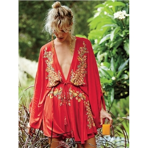 Women Summer V neck Bating sleeve Embroidery Mini Dress
