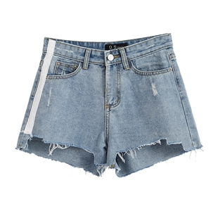 Irregular edge denim shorts