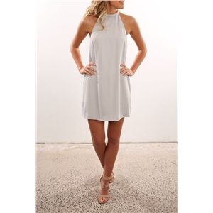 Solid color Halter nail bead halter neck sleeveless dress