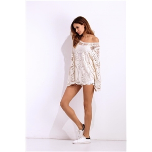 Long sleeve embroidered lace beach dress