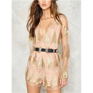 Pink Plunge V-neck Embroidery Feather Sheer Mesh Romper Playsuit