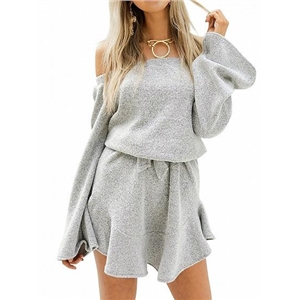 Gray Off Shoulder Tie Waist Long Sleeve Knitted Skater Dress