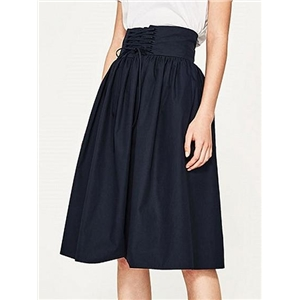 Navy Blue High Waist Lace Up Front Midi Skirt