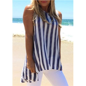 Striped Hollow Out Button Tank
