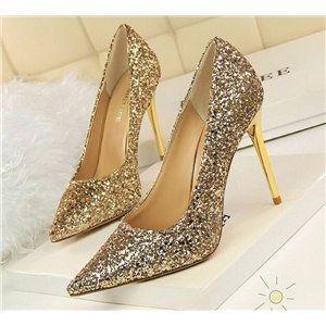 Sequined Golden High Heels