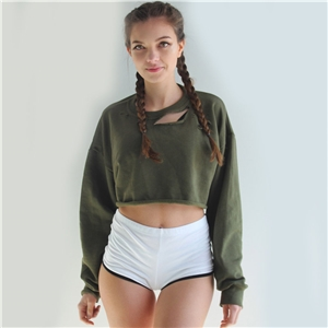 Ripped Drop Shoulder Cropped Sweatshirt