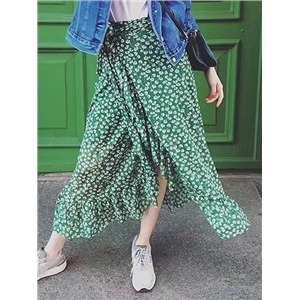 Green Floral High Waist Tie Side Ruffle Trim Midi Wrap Skirt