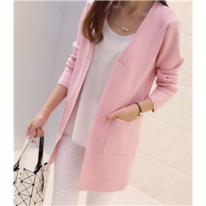 victoriaswing New Women Spring/ Autumn Sweater 2017 Long Cardigan Korean Slim Pocket Loose Knit Sweater Outwear Coat