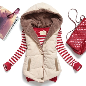 victoriaswing Spring Autumn Slim Velvet Women Vest Jacket Warm Cotton Hooded Winter