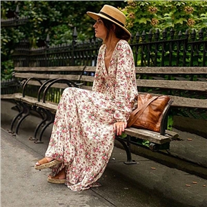 Womens Boho Floral Long Maxi Dress Beach Chiffon Sundress Cocktail Party