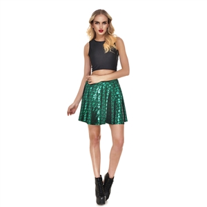 Fish Scales Skirts Women Casual Cute Mermaid Mini Flared Skater skirt