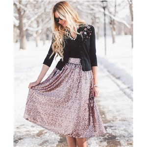Rose Gold Sparkly Sequins High Waisted Fashion Midi Skirt