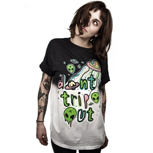 "Summer Rock and Roll T-Shirt Alien UFO World ""Don't Trip Out"" Funny Crazy ET Print 3D T Shirt"
