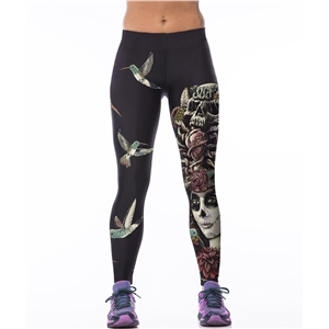 Sporting Fitness Leggings Stretchy Trousers Pants Sexy Hips Push Up Leggins Mujer Women Fashion Birds Skull Printed Capris