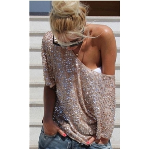 Lady Shiny Sequin Top Tank Mouw Bling Vest T-Shirt Tops Tee