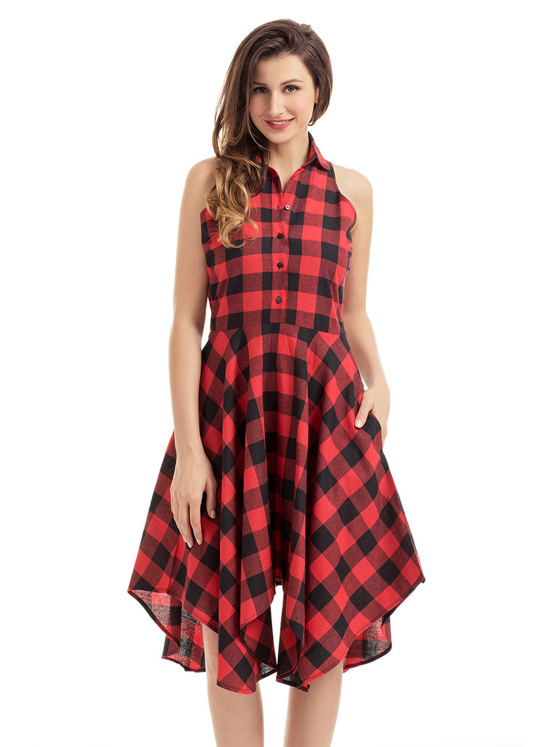 kaifeiya Women Summer Sleeveless Halter Neck Tartan Vintage Dress Female Dress with US $ / piece Free Shipping. Orders (0) New. PlusSize women clothings Store. Add to Wish List. 3 Colors Available. SIJANEWEDDING Sweetheart Neck Tartan Print Sleeveless Beach Dress Party Dress.