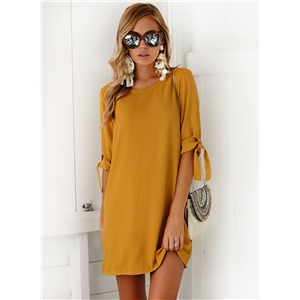 Solid Round Neck Half Sleeve Mini Pullover Dress