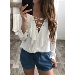 V Neck Lace-up Ruffle Long Sleeve Pullover Blouse