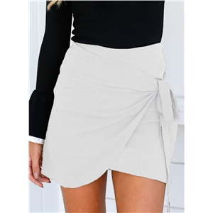 Fashion Solid Irregular Bodycon Mini Skirt