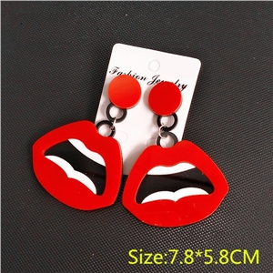 New Red Lips Punk Earrings Exaggerated Hip Hop Lips Earrings