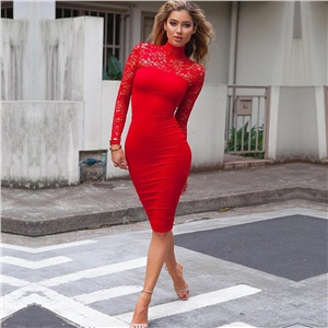 Sexy Women Lace Dress Autumn Winter Long Sleeve High Neck Bodycon Dress Black Club Dress Red Party Dress