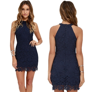 Halter Off Shoulder Sleeveless Lace Bodycon Dress