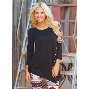 Fashion 3/4 Sleeve Irregular Loose Tee