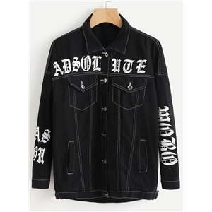 Turn Down Collar Letters Printed Denim Coats