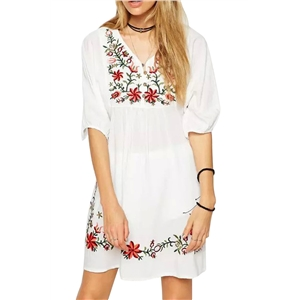 Embroidery Floral Loose Dress