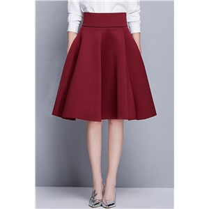 Elegant Solid Color High Waist Bubble Skirt