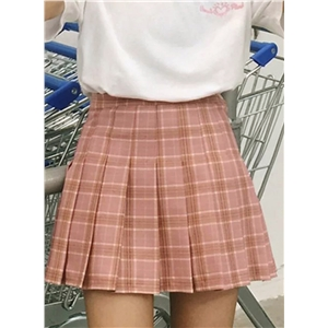 Fashion Plaid Pattern Pleated Mini Skirt