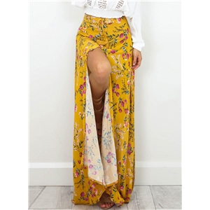 Casual High Slit Floral Printed Maxi Beach Skirt
