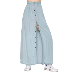 Fashion High Waist A-line Maxi Denim Skirt with Pockets