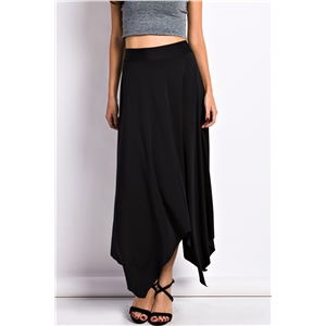 Simple Handkerchief-Hem Midi Skirt