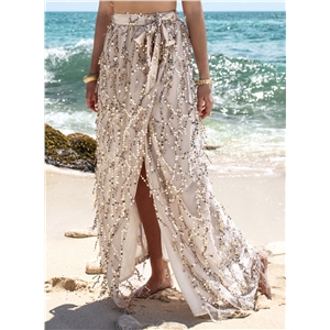 Sequins High Slit Maxi Skirt with Tie Waist