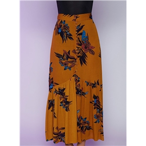 Womens Floral Slit Asymmetric Skirt