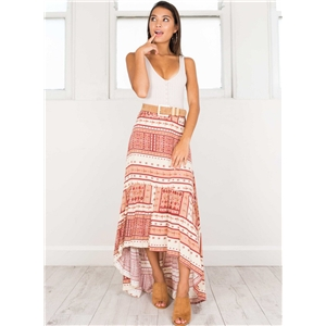 Casual Bohemian High Waist Irregular Maxi Skirt