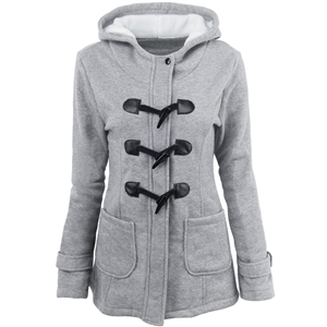 Hooded Long Sleeve Solid Button Down Coats