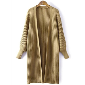 Open Front Long Sleeve Solid Color Cardigan