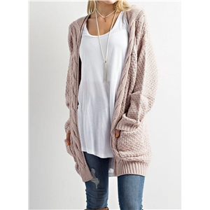 Fashion Long Sleeve Solid Open front Knit Cardigan