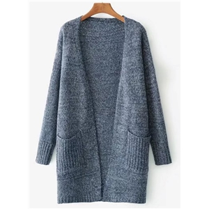 Open Front Long Sleeve Solid Cardigan