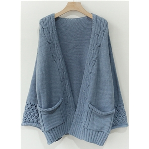 Long Sleeve Open front Loose Fit Knit Cardigan with Pocket