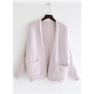 Fashion Solid Long Sleeve Knit Cardigan with Pocket