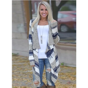 Long Sleeve Open front Color Block Irregular Knit Cardigan