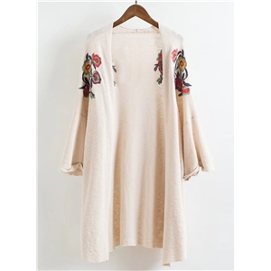 Loose Floral Embroidery Kimono Knit Cardigan