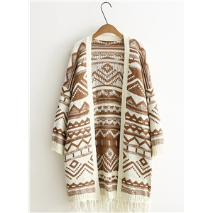 Loose Open Front Tassel Ethnic Sweater Cardigan