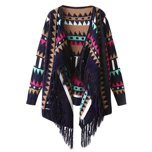 Geo Fringed Knite Cape Cardigan