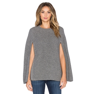 Round Neck Cloak Design Solid Sweater