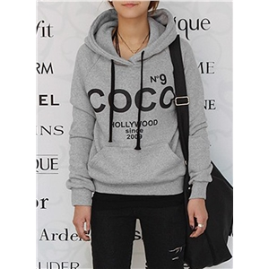 Fashion Letter Printed Loose Pullover Hoodie