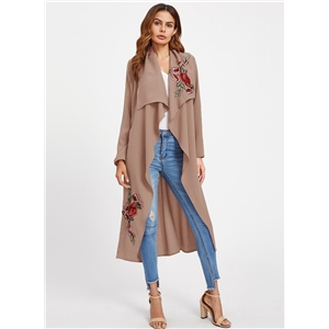 Turn Down Collar Floral Embroidery Coat